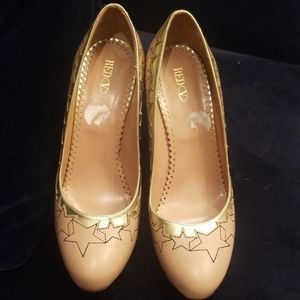 Valentino red  beige and gold pumps